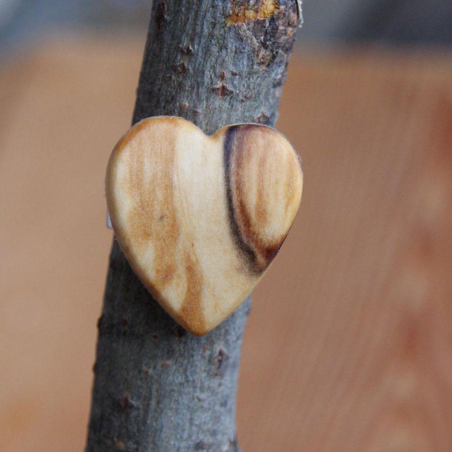 Bague cabochon en bois forme coeur Bois de bouleau largeur 19mm