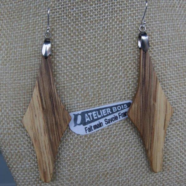 boucle d'oreille grand losange en bois de chêne bijoux éthique en bois, bijou nature ciré, fait main
