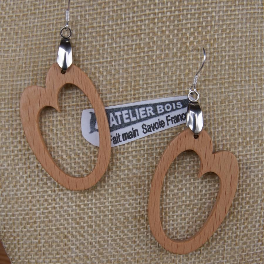 boucle d'oreille ovale en bois de hêtre bijou en bois fait main, forme géométrique