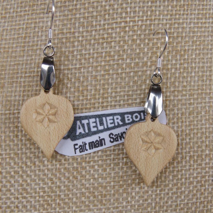boucles d'oreilles découpée sculptée bijoux nature bois massif d'érable fait main