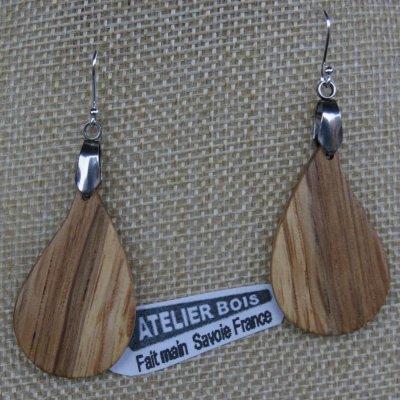 boucles d'oreilles grande goutte en chêne bijoux éthique en bois, bijou nature ciré, fait main