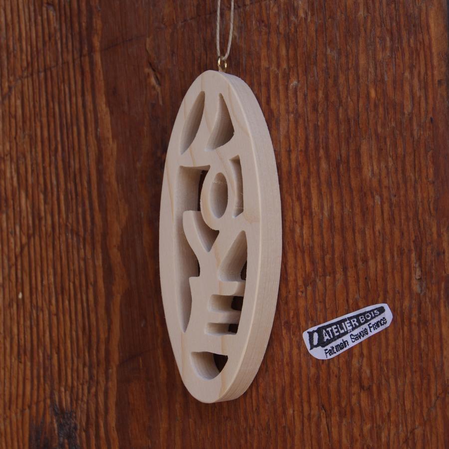 Boule 12 cm en bois decoupe LOVE a suspendre, decoration mariage, saint valentin, noel, noces de bois