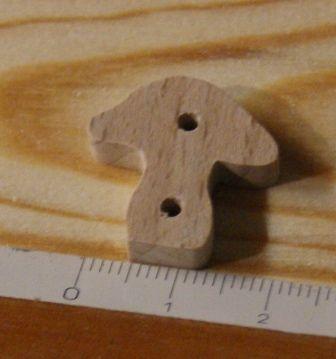 Bouton champignon 22mm embellissement scrapbooking nature foret bois massif fait main