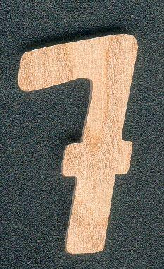 Chiffre 7 en bois de frene hauteur 5 cm a coller, signalisation