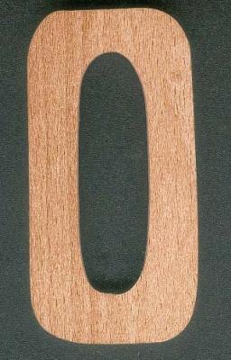 Chiffre 0 en bois  ht 10cm a coller