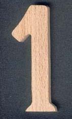 Chiffre 1 en bois ht 8cm marquage, chiffre a coller