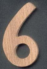 Chiffre 6 ht 10cm bois de hetre massif fait main, marquage pendule
