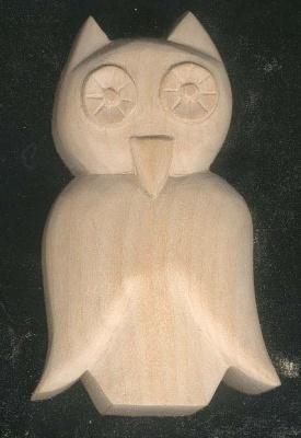 Chouette découpée sculptée cirée nature