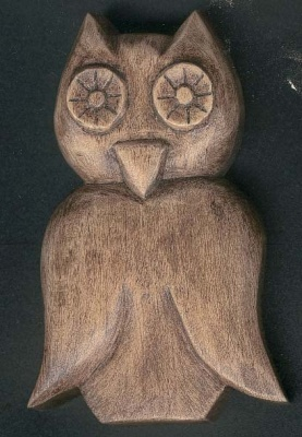 Chouette découpée sculptée cirée noyer decoration