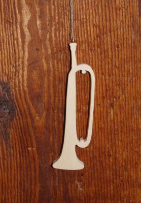 Clairon en bois 15cm décoration musicale