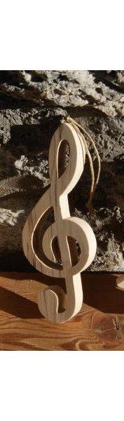 Cle de sol 15 cm en bois de bouleau decoration musicale