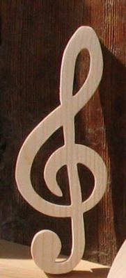 clef de sol en bois massif ht 15 cm decoration musicale, cadeau musicien, fait main