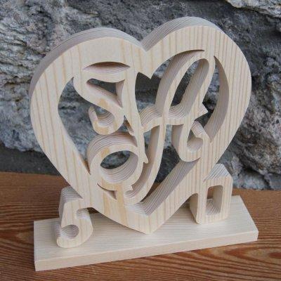 Coeur anniversaire, initiales et années personnalisées, bois massif