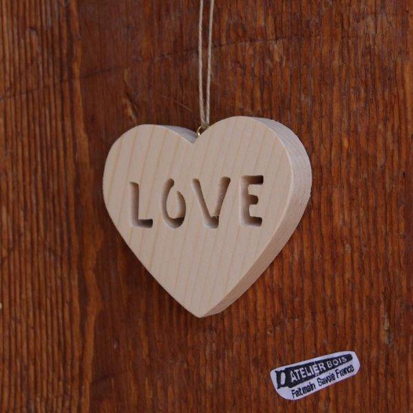 Coeur bois LOVE, Coeur de Saint valentin, décoration de mariage, cadeau noce de bois ou boule de Noel originale, très nature