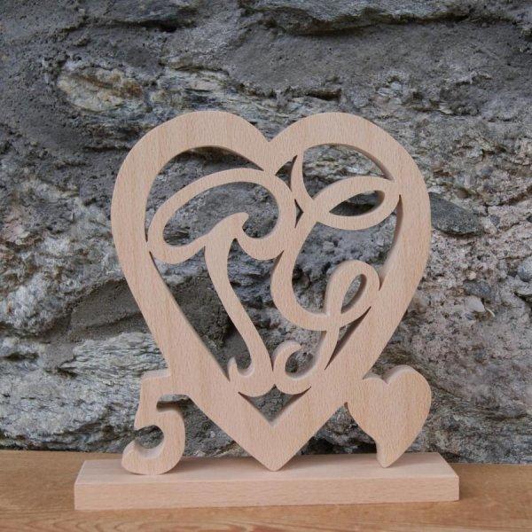 Coeur initiales personnalisées, noce de bois, 5 ans de mariage, anniversaire, décoration de table hêtre massif