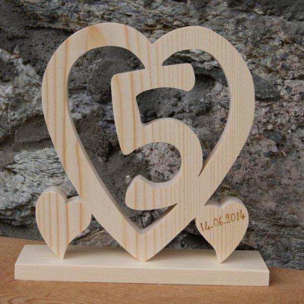 Coeur noce de bois, 5 ans de mariage, cadeau déco original, fait main