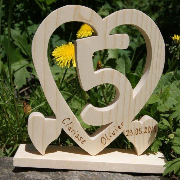 Coeur noce de bois, 5 ans de mariage, cadeau déco original, fait main, idée cadeau noce de bois