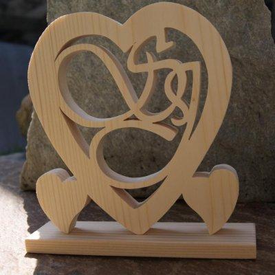 Coeur noce de bois, 5 ans de mariage, initiales personnalisées