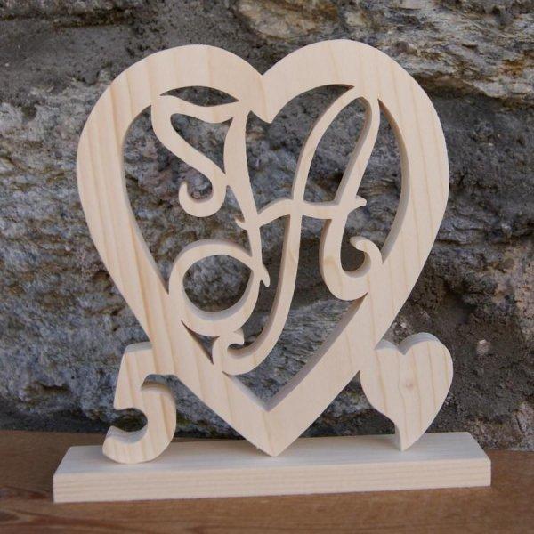 Coeur noce de bois, 5 ans de mariage, initiales personnalisées, épicéa massif