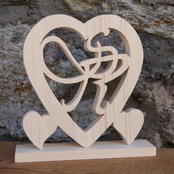 Coeur noce de bois, 5 ans de mariage, initiales personnalisées, épicéa massif, idée cadeau noce de bois, idée saint valentin