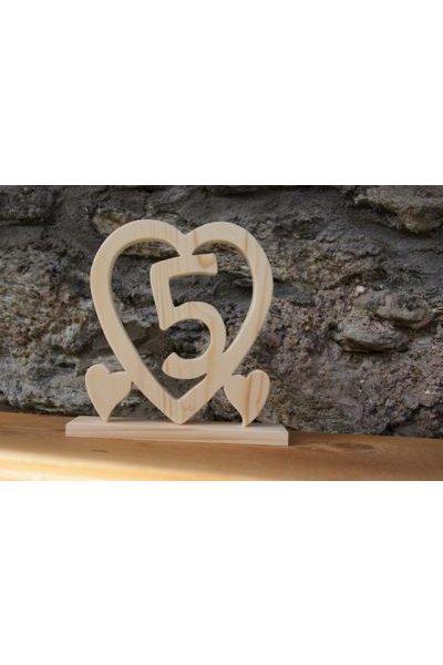 Coeur Noce De Bois 5 Ans De Mariage Cadeau Deco Original Fait Main