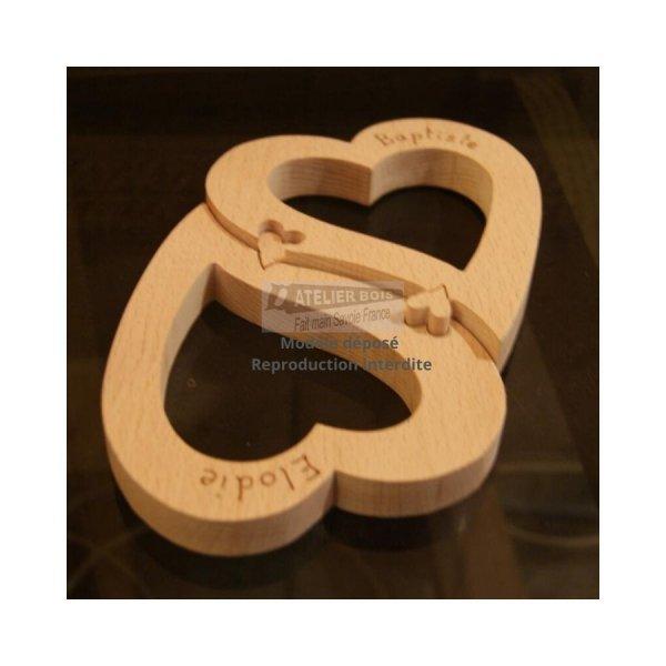 coeurs puzzle, décoration cadeau noce de bois, saint valentin, fait main