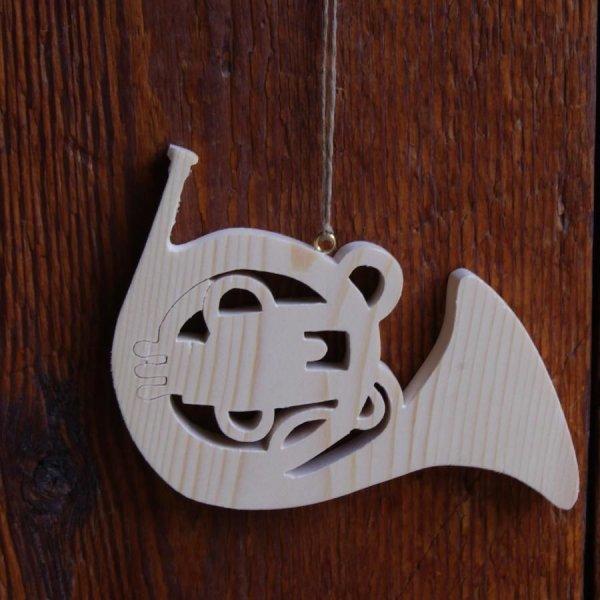 Cor d'harmonie en bois ht 20cm décoration musicale en bois, cadeau corniste, fait main