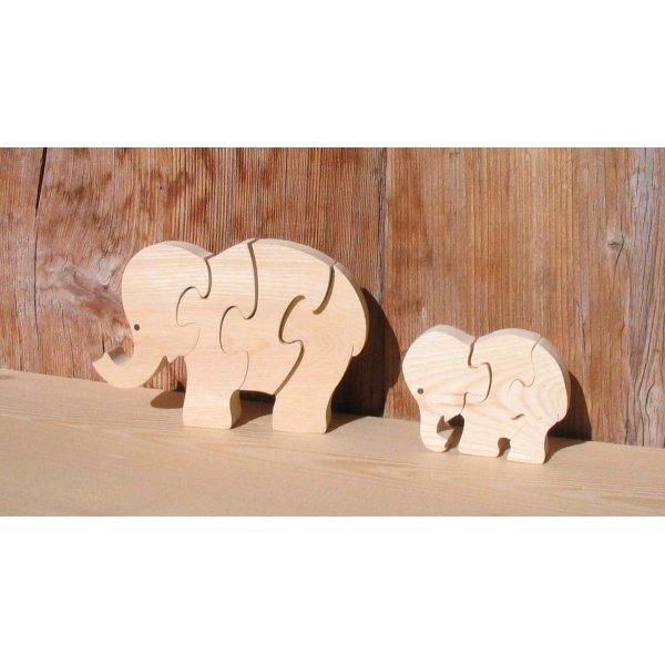elephant puzzle 4 pieces hetre massif, fait main, animaux savane