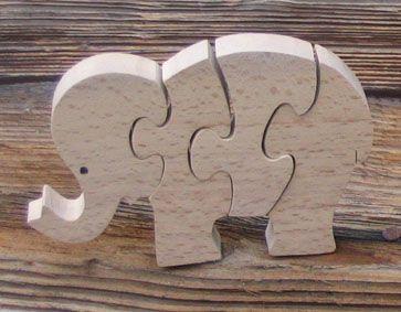 elephant puzzle 4 pieces hetre massif, fait main