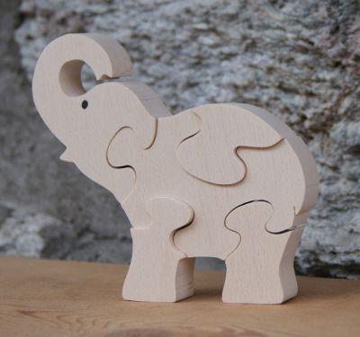 elephant puzzle 5 pieces  bois de hetre massif, fait main