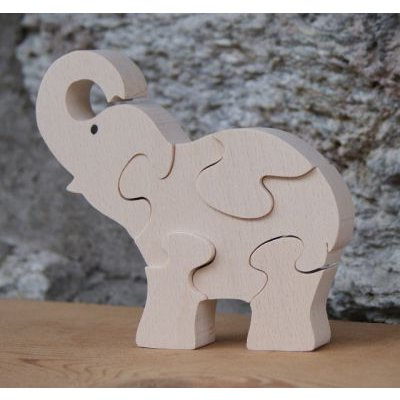 puzzle bois animaux elephant puzzle 5 pieces bois de hetre massif fait main. Black Bedroom Furniture Sets. Home Design Ideas