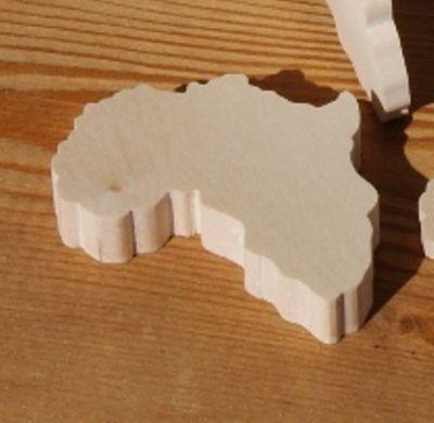 Figurine carte d'afrique ht6cm ep 7mm bois erable massif fait main