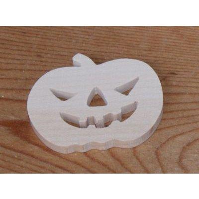 figurine citrouille d' halloween 3mm a peindre et a coller, bois massif fait main embellissement scrap
