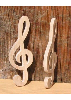 Figurine clef de sol lg 9cm ep 3 mm, marque place mariage