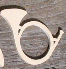 Figurine cor de chasse epaisseur 3mm décoration table chasse bois erable massif fait main