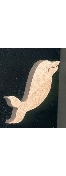 Figurine miniature dauphin 4.6x 5 cm en bois loisirs créatifs, fait main