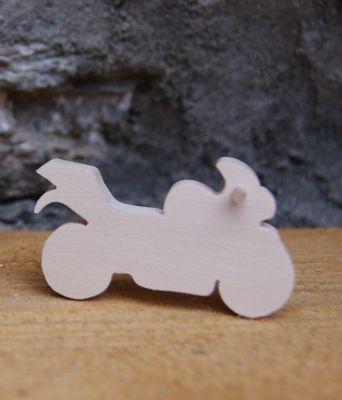 Figurine Moto de route en bois massif a peindre, fait main, marque place