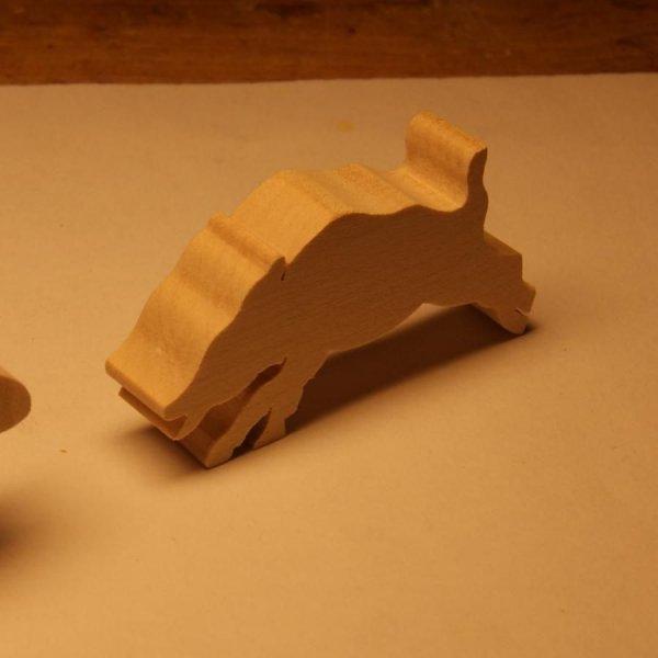 Figurine sanglier en bois miniature nature, chasse, foret