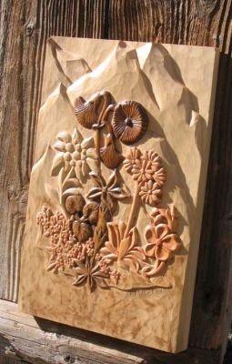 fleurs de montagne sculptées a la main en Savoie