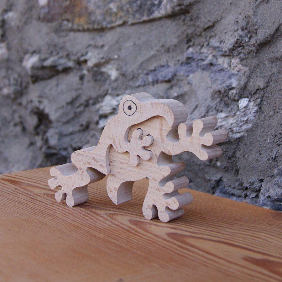 grenouille puzzle 2 pieces bois hetre fabrication artisanale