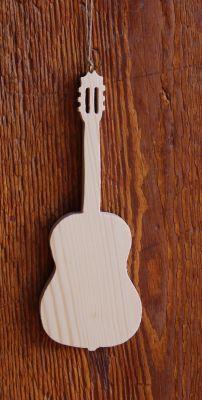 Guitare en bois ht20cm décoration interieur thème musique, cadeau musicien guitariste