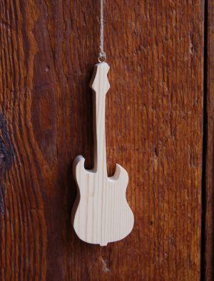 Guitare electrique en bois ht 20cm decoration musique, cadeau musicien, fait main