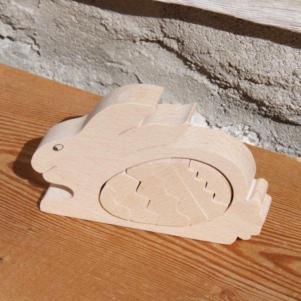 lapin avec oeuf puzzle en bois massif à peindre, fait main