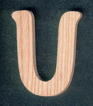 Lettre U en bois hauter 5 cm en frene