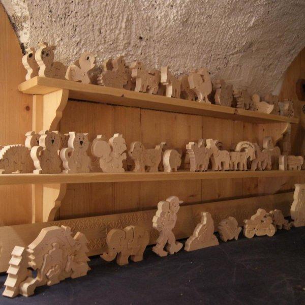 3 marmottes puzzle 4 pieces bois de hetre massif, fait main, animaux de montagne