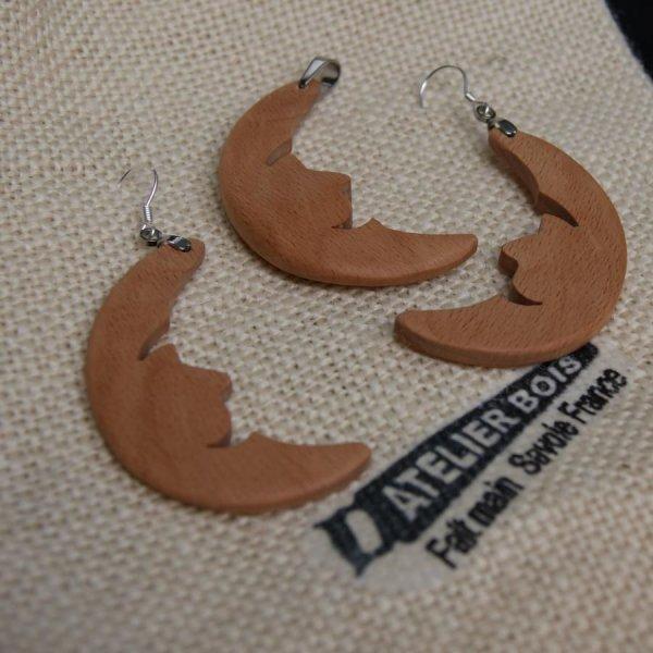 Parure lune, boucles d'oreilles et pendentif bijoux nature en bois de hetre, fait main