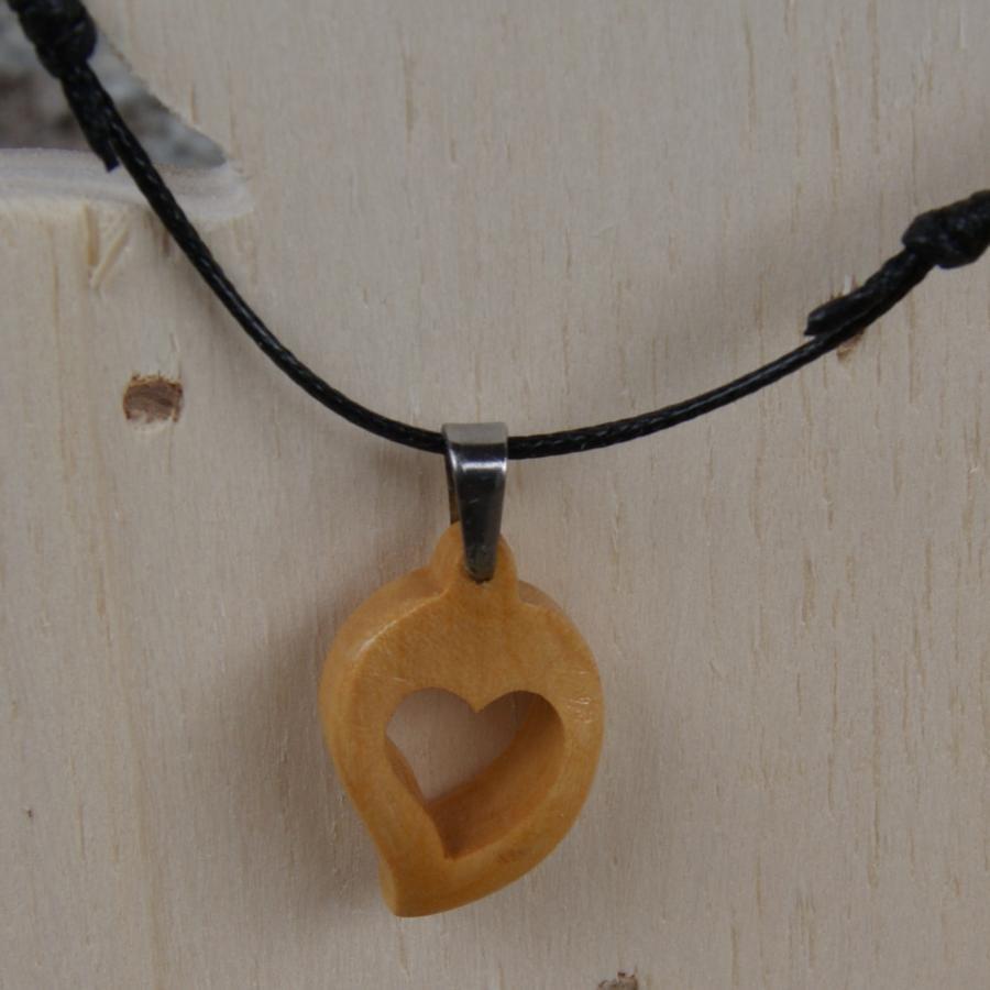 Pendentif coeur sur cordon reglable bijoux noce de bois - Idee cadeau noce de bois ...