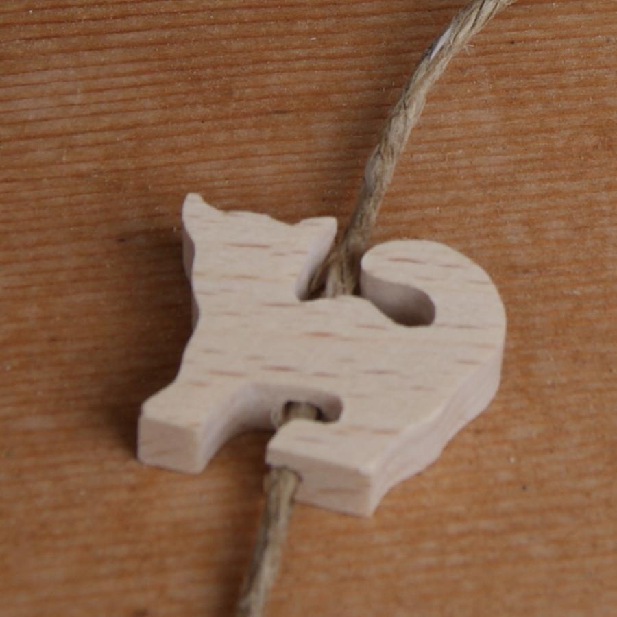 perle bois chat, percage vertical pour la fabrication de mobile et suspension bois massif fait main