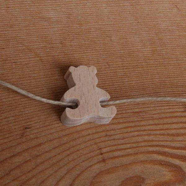 perle bois ourson H a decorer collier enfant