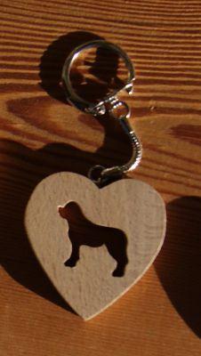 porte clef coeur et chien saint bernard ou golden retriever